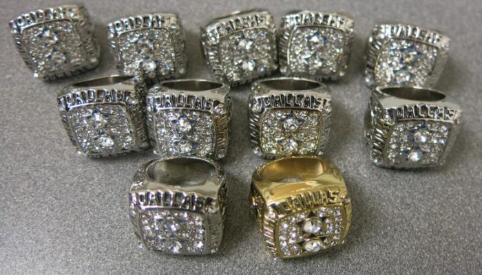 An image of 11 counterfeit championship rings that were seized by Detroit U.S. Customs & Border Protection at Detroit Metropolitan airport.