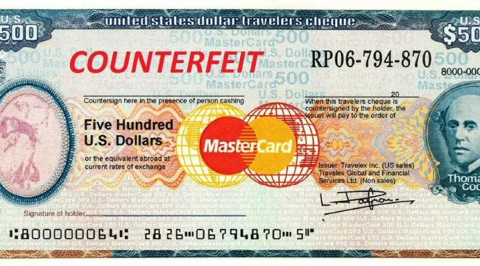 PHL Fake Traveler's Check Seized by CBP in Philadelphia en route to Chicago