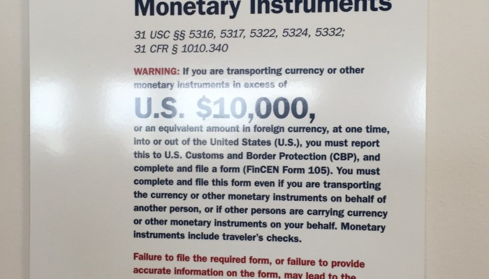 Detroit Airport Currency Report Sign