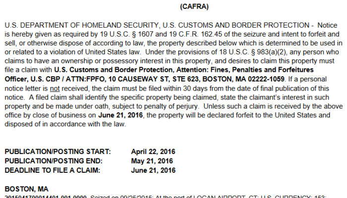 An April 22 notice of seizure and intent to forfeit cash seized at Boston Logan airport.