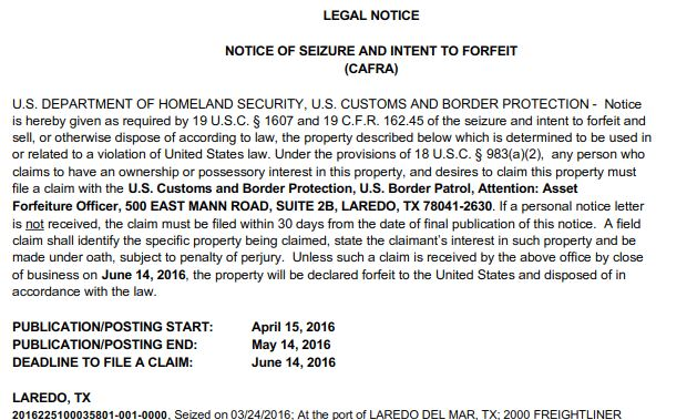 Loss of Cash to Texas CBP via Notice of Forfeiture & Intent to Seize