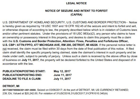 CAFRA Notice of seizure and intent to Forfeit Detroit