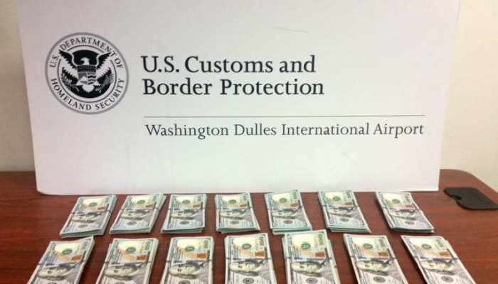Stacks of Cash at Dulles Airport Seized by Customs for Violating the Currency Reporting Requirements