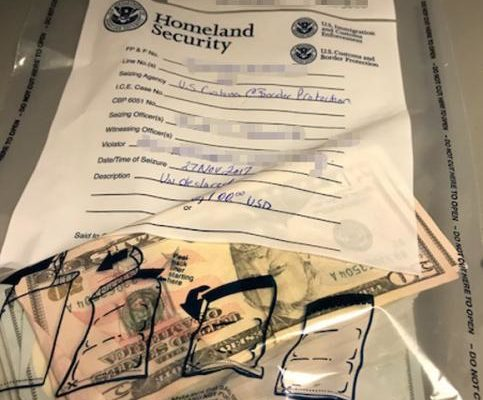 A picture of seized cash in an evidence bag from U.S. Customs and Border Protection.
