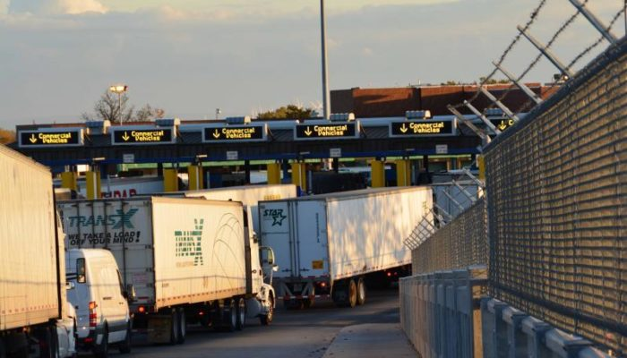 Trucks line up for inspection at Peace Bridge Port of Entry, Buffalo, N.Y.
