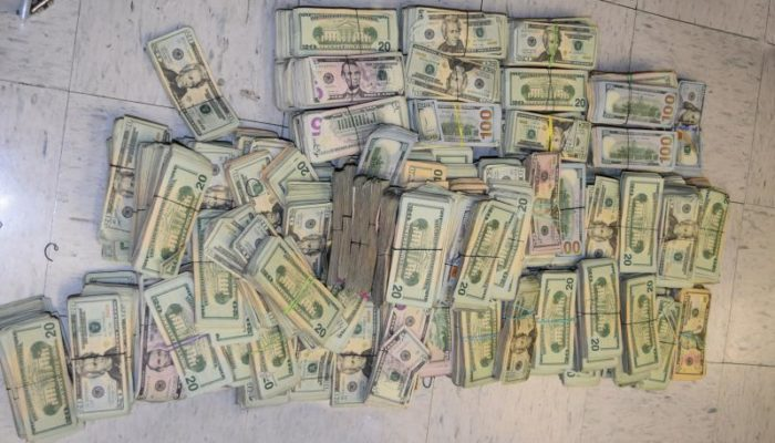Pile of cash totaling more than $600,000 seized by U.S. Customs & Border Protection in Brownsville, Teas