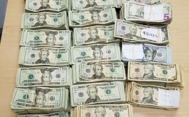 Image of $221,319 in cash seized by U.S. Customs & Border Protection in Roma, Texas.