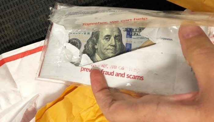 Money in envelope seized by Dulles CBP