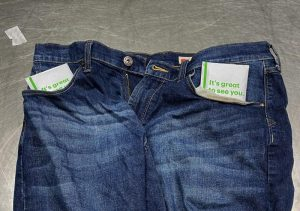 Jeans stuffed with money in the pockets seized by CBP